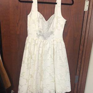Ivory floral midi skater dress